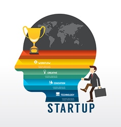 Startup Business design concept step on head shape vector image