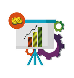 Statistics bar growing presentation with gears vector
