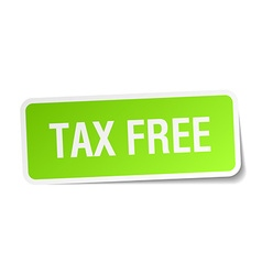 Tax free green square sticker on white background vector