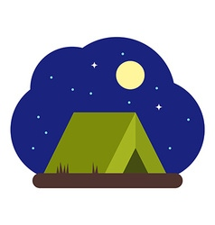Tourist tent at Night in flat design style vector image