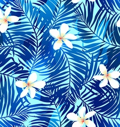 Tropical palms seamless pattern in blue with vector