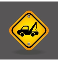 Truck crane yellow road street sign vector