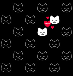 two white cats in love funny seamless pattern vector image