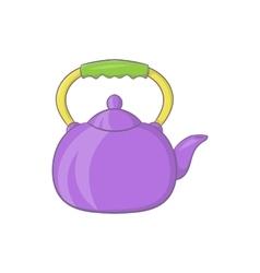 Violet teapot icon cartoon style vector