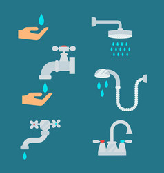 water tap with drop bathroom ico process savings vector image