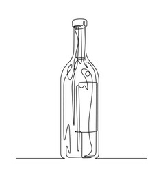 Wine bottle continuous line vector