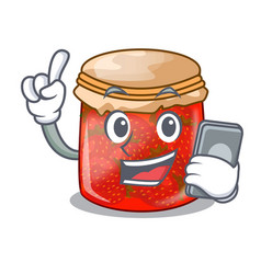 With phone character homemade strawberry marmalade vector