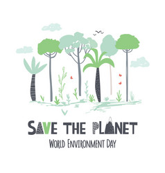 world environment day childish hand draw poster vector image