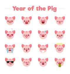 year pig flat cartoon character emoji vector image