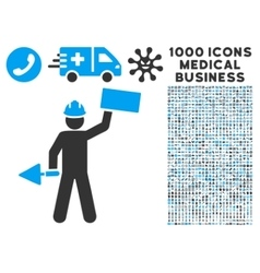 Builder Icon with 1000 Medical Business Symbols vector image vector image