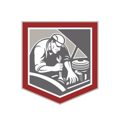 Car Mechanic Repair Automobile Shield Retro vector image vector image