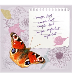 Card with a butterfly vector