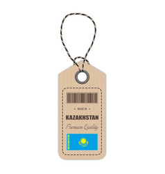 hang tag made in kazakhstan with flag icon vector image