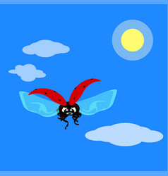 ladybird flying in the sky in flat style vector image vector image