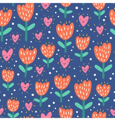 Valentine flowers and hearts vector image vector image
