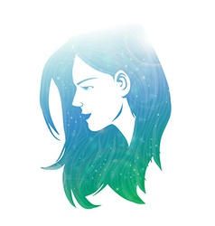 Beautiful women with abstract hair vector image vector image
