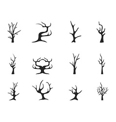 black dead tree icons vector image