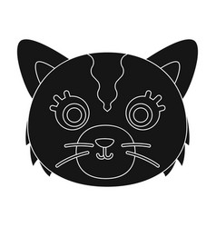 cat muzzle icon in black style isolated on white vector image