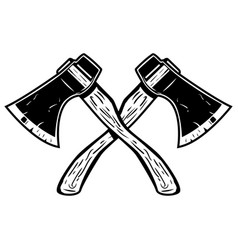 crossed axes isolated on white background vector image vector image