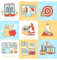 Financial concepts set flat line vector image vector image