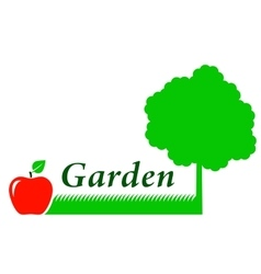 Garden background with tree grass and fruit vector