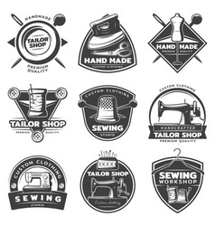 monochrome tailor labels collection vector image vector image