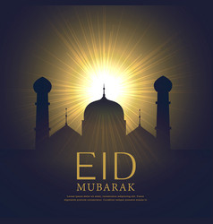 mosque silhouette with glowing light eid mubarak vector image vector image