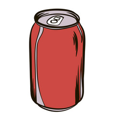 red aluminum can icon cartoon vector image