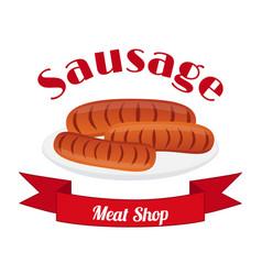 sausage logo label for menu shops flat style vector image
