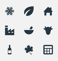 set of simple agricultural icons elements vector image vector image
