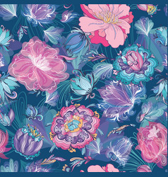 turquoise floral lotus and peony pattern vector image vector image