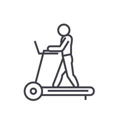 fitness treadmill concept thin line icon vector image vector image