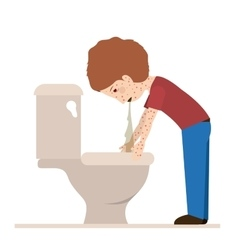 person sick with vomiting vector image