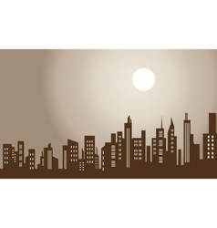 Silhouette of city and moon scenery vector image vector image