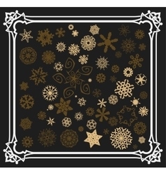 Snowflakes set with old frame vector image vector image
