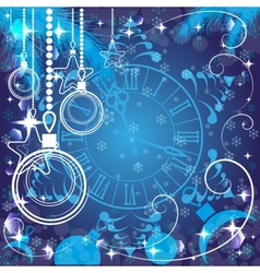 blue Christmas background with clock vector image vector image