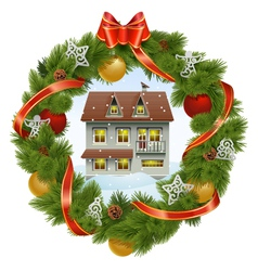 Christmas Wreath with House vector image vector image