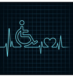 heartbeat make handicapped and heart symbol vector image vector image
