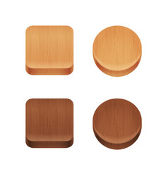 set of wooden app icons vector image