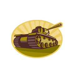 world war two battle tank aiming cannon vector image