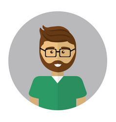 young doctor with beard glasses and uniform vector image vector image