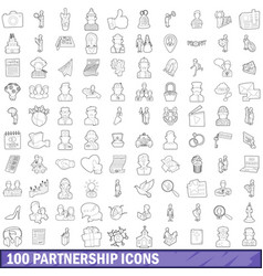 100 partnership icons set outline style vector