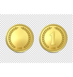3d realistic golden metal coin or medal vector