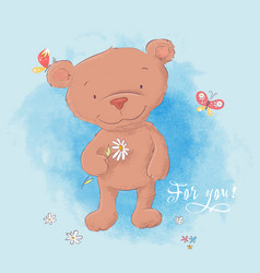 a cute bear with camomile hand vector image