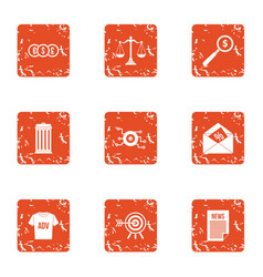 Advertising business icons set grunge style vector