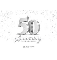 Anniversary 50 silver 3d numbers vector