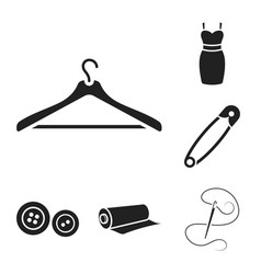 Atelier and sewing black icons in set collection vector
