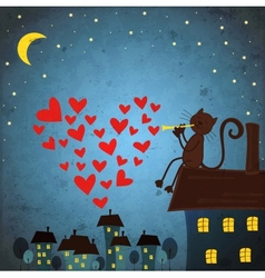 background with night sky star cat and flute vector image