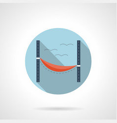 Beach hammock flat round icon vector