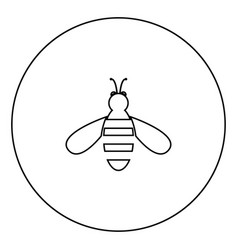 bee icon black color in circle vector image